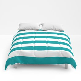 Horizontal Stripes Pattern: Teal Comforters