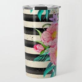 Modern stripes and tropical flowers hand paint Travel Mug