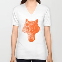 coyote V-neck T-shirts featuring Head Coyote by barmalisiRTB