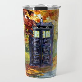 Starry Autumn Blue Phone Box Travel Mug