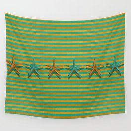 """""""Lines with Starfish in Turquoise and Mustard"""" Wall Tapestry"""