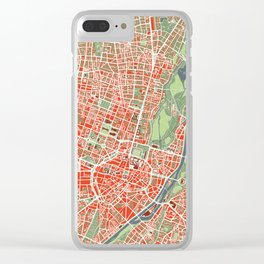 Munich city map classic Clear iPhone Case
