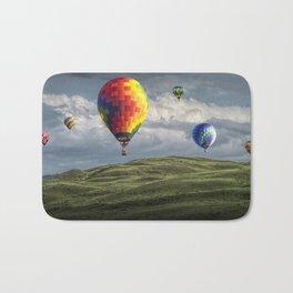 Hot Air Balloons over Green Fields Bath Mat