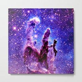 Galaxy Nebula : Pillars of Creation Purple Blue Metal Print
