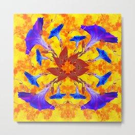 Purple & Gold Floral Design Metal Print