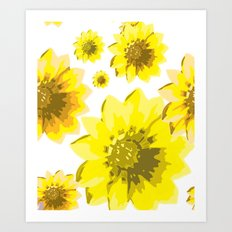 Retro Sunflowers Art Print