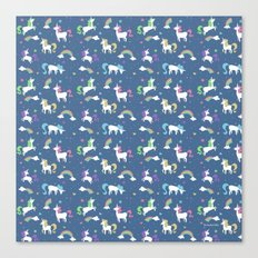 Unicorns and Rainbows - blue -tiny Canvas Print