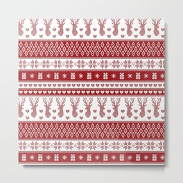 Nordic fair isle christmas pattern red Metal Print