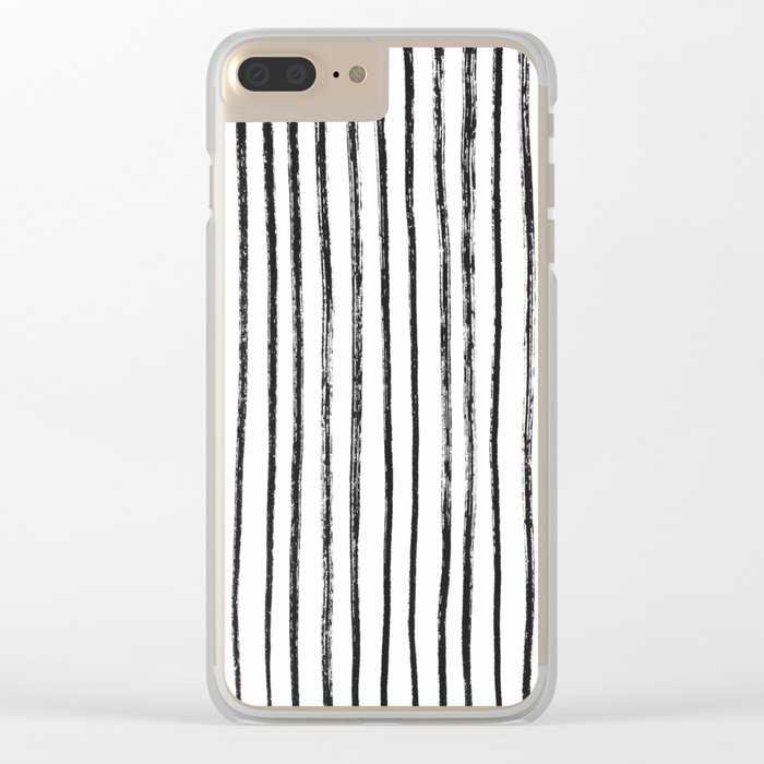 Black Dry Brush Line Pattern (Vertical) Clear iPhone Case