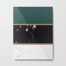 Marble Mix Stripes #4 #black #white #green #gold #decor #art #society6 Metal Print