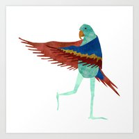 parrot Art Prints featuring Parrot by Jade Young Illustrations