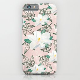 Blush pink watercolor forest green white magnolia blossom iPhone Case