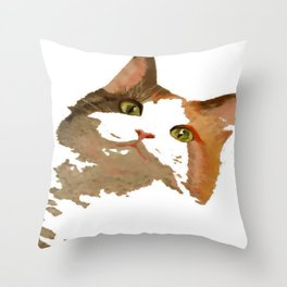 I'm All Ears - Cute Calico Cat Portrait Throw Pillow