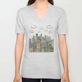 The city of paper clouds Unisex V-Neck