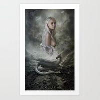mother of dragons Art Prints featuring Mother of Dragons by Flo Tucci