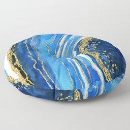 Cobalt blue and gold geode in watercolor (2) Floor Pillow