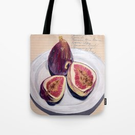 Figs on a Plate in Gouache Tote Bag