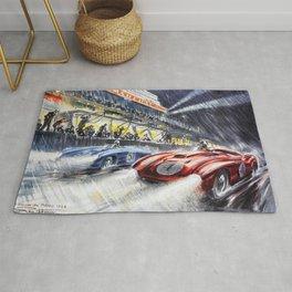 1954 Le Mans Auto Racing Advertisement Vintage Poster Rug