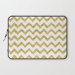 Chevron Gold And White Laptop Sleeve