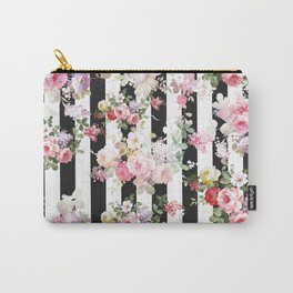 Bold pink watercolor roses floral black white stripes Carry-All Pouch