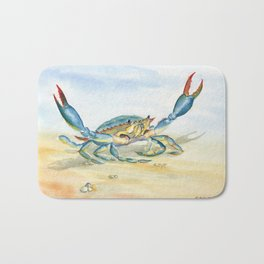 Colorful Blue Crab Bath Mat