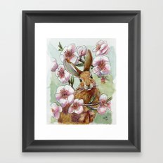 Amandine - Rabbit and flowers Framed Art Print