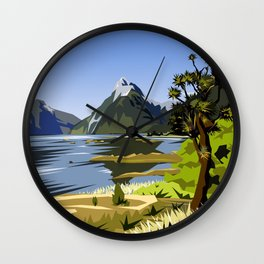 Mitre Peak, MIlford Sound, New Zealand Wall Clock