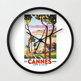 1938 France Cannes Cote D'Azur Travel Poster Wall Clock