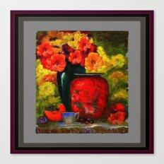 RED-ORANGE AMARYLLIS RED VASE STILL LIFE Canvas Print