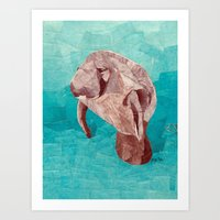 manatee Art Prints featuring Manatee by GiGi Garcia Collages