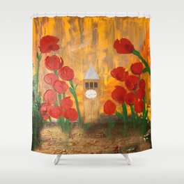 150 Years of CU - An Alumni Anniversary Tribute with Red Tulip Flowers Shower Curtain
