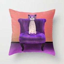 Elegant Cat violet Throw Pillow