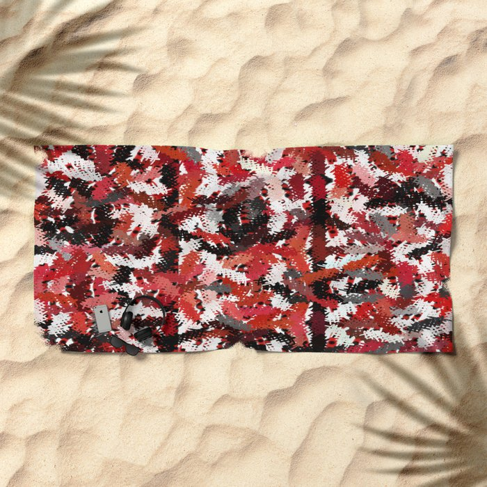 Black, White and Red Tapestry Beach Towel