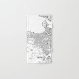 Vancouver White Map Hand & Bath Towel