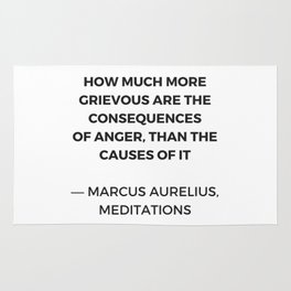 Stoic Inspiration Quotes - Marcus Aurelius Meditations - on anger Rug