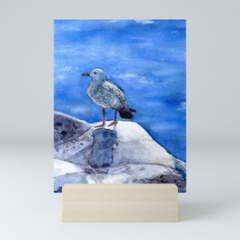Seagull by the Ocean Watercolor Mini Art Print