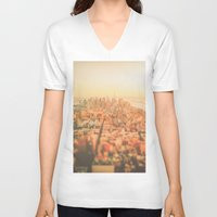 new york city V-neck T-shirts featuring New York City Sunset by Vivienne Gucwa