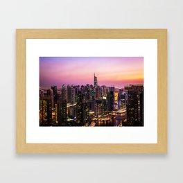 Skyline Jumeirah Lake Towers, Dubai, United Arab Emirates at Dusk Framed Art Print