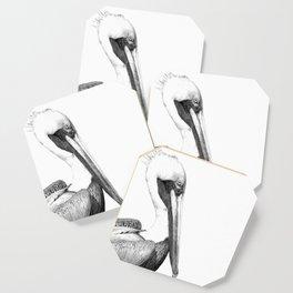 Black and White Pelican Coaster