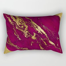Luxury and glamorous gold glitter and pink marble Rectangular Pillow