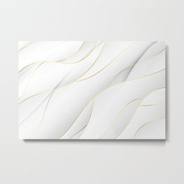 Sea Shell White with Gold Accents Metal Print