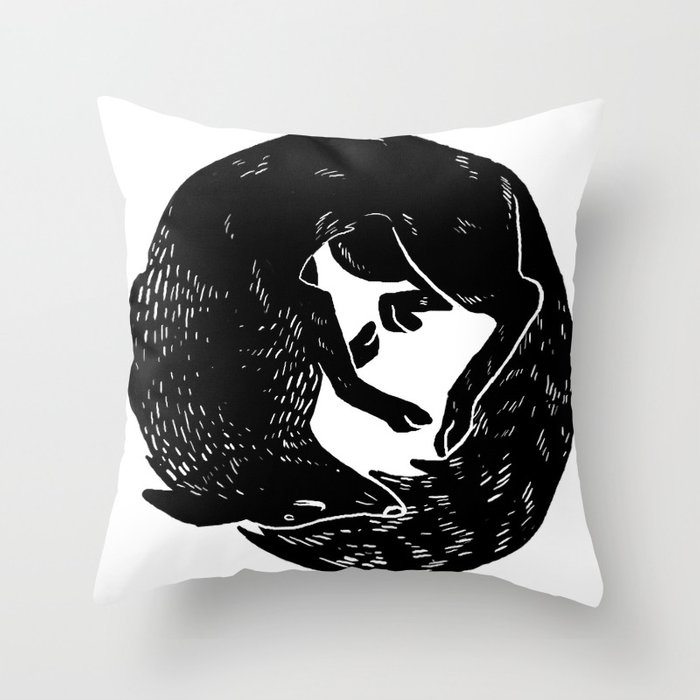 black and white thoughts Throw Pillow