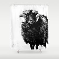 ram Shower Curtains featuring Black Ram by Vicki Field