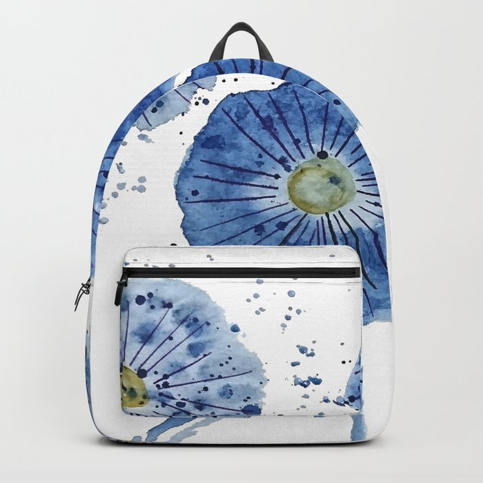 four blue dandelions watercolor Backpack