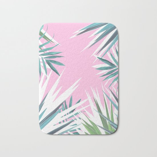 Tropical leaves pink and turquoise Bath Mat