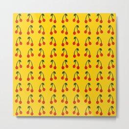 Yellow/Red Cherries Metal Print