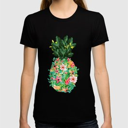 Colorful island flowers pineapple illustration T-shirt