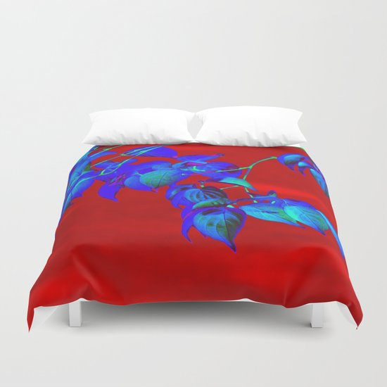 Red Sky And Blue Leaves Duvet Cover