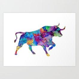 Watercolor Bull Art Gift Wildlife Animal Art Ox Art Colorful Gift Art Print