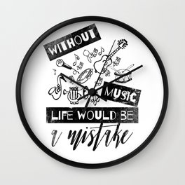 Fun Black Design with Musical Instruments Wall Clock